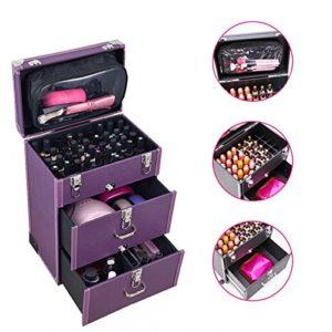 Generic Stockage BO Cosmétique Boîte de rangement GE Purpl Salon de beauté E Beaut Portable Mallette de maquillage EY S Box Violet Keup Coque TR Trolley