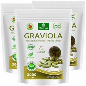 Graviola comprimés 360 x 2000mg extrait de fruit 4:1 végétalien, produit de qualité de MoriVeda (3×120 Tabs)