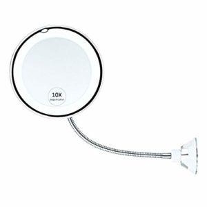 Hamkaw Miroir De Maquillage éclairé Grossissant 10X avec Col De Cygne Flexible Et Ventouse Robuste Miroir De Maquillage pour Vanité De Salle De Bain Pivotante à 360 Degrés
