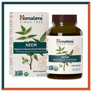 Himalaya USDA Neem Capsules – Nettoyage naturel de la peau, traitement de l'acné et détoxification du sang – Une meilleure alternative à l'huile de neem – 60 pièces (Neem – Skin Supplement)