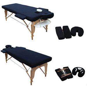 H-ROOT couverture de table de massage. Avec appui-tête et accoudoirs (noir) (186cm x 60cm)