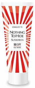 La protection solaire respectueuse de l'environnement d'Omuci Nothing To Hide. Des ingrédients naturels adaptés pour les végétaliens. Protection UVA + UVB.(50 SPF, 100ml)