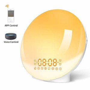 Lampe de Réveil, FM Radio Réveil Intelligent WiFi, Lampe de Chevet Simulation Lever/Coucher du Soleil, 7 Couleurs, 7 Types de Sons naturels Compatible avec Amazon Alexa Echo Google Home APP