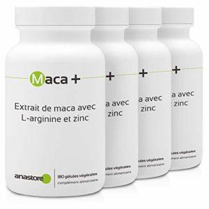 MACA + ARGININE ET ZINC * PACK 3+1 GRATUIT * 461 mg / 720 gélules * Energie * Garantie Satisfait ou Remboursé * Fabriqué en France