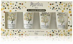 MARILOU BIO Coffret Soin Visage à l'Huile d'Argan : 5 produits crème de jour, crème de nuit, gommage et crème mains – Gamme Argan