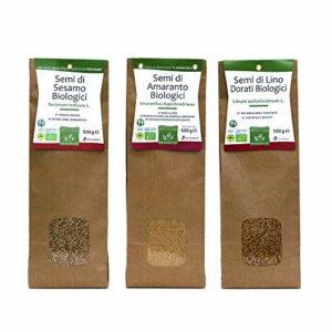 Mix Graines biologiques: Sèsam – Amaranthes – Lin – – Multipack 500 g x 3