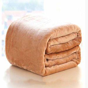 Molleton épais Couverture,Velours de Corail Couverture de lit Respirante Douce Draps de lit Chaud Lisse Lève Couverture -Chameau 200x230cm(79x91inch)