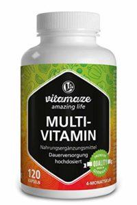 Multivitamines en capsules à fort dosage, 23 vitamines A-Z & minéraux, substances minérales et oligo-éléments précieux, 120 capsules végétales pendant 4 mois sans additifs