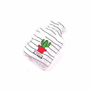 Nowbetter Bouteille d'eau Chaude avec Couvercle Amovible Portable Menstruel Soulagement de la Douleur l'eau Chaude Sac pour Femme Filles, White Cactus, 17 * 11CM
