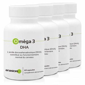 OMÉGA 3 – DHA * PACK 3+1 GRATUIT * 511 mg / 240 capsules * Cerveau, Vision * Garantie Satisfait ou Rembours * Fabriqué en France