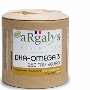 Omega 3 vegan I Huile d'algues I Naturel I Vegan I 60 capsules I 250 mg DHA/Capsule (+ EPA) I Fabriqué en France par Argalys Essentiels