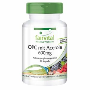 OPC 600mg avec Acerola – set pour pendant 3 mois – végan – dosage élevé – 90 capsules – extrait de pépins de raisin