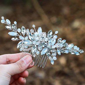 Peigne de mariage Simsly – Couleur opale bleue – Argent – Accessoire de cheveux pour ou demoiselle d'honneur – FS-106