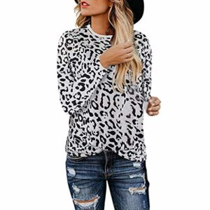 PowerFul-LOT Femme Automne Hiver Décontractée Col Rond Léopard Imprimer Manches Longues Coutures Knitwear Pull en Tricot Tops Pullover Sweater Chaud