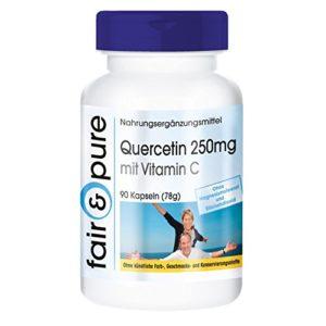 Quercétine 250mg avec vitamine C, végan, sans stéarate de magnésium, 90 gélules de quercétine