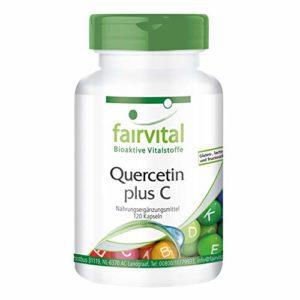 Quercétine naturelle plus vitamine C, végan (dose journalière: quercétine 500mg & vitamine C, douce pour l'estomac), 120 gélules