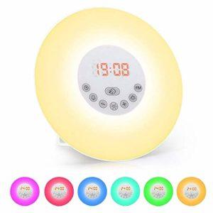 Réveil Lumière, solawill Lampes de réveil Tactile Contrôle Radio FM Simulation Lever Coucher du Soleil Fonction Snooze Reveil Lumière Lampe 6 Couleurs Eveil Lumière Veilleuse LED pour Enfant Adulte
