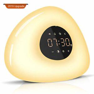 Réveil Lumière,Lampes de Réveil Veilleuse Lumière LED Tactile contrôle Lever Coucher du Soleil Mode Snooze 7 couleurs 10 Sons Naturels 10 Niveaux de Luminosité [pour Enfant Bébé Adulte]