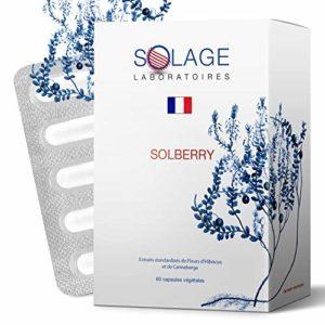SOLBERRY- Infections urinaires: Extrait du fruit entier de Cranberry + Fleur d'Hibiscus + VitC – Agit plus longtemps contre 95% des causes – 100% Vegan – Satisfait ou Remboursé – Laboratoires SOLAGE