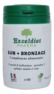 SUN + BRONZAGE – 60 gélules bronzantes Multi vitamines à la poudre de carotte et au Bixa pour un bronzage rapide et résistant. Exceldiet, la marque Verte.
