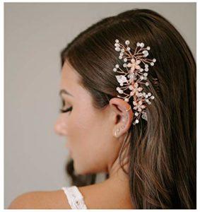 SWEETV Perle accessoires cheveux mariage Cristal Peignes Cheveux Pinces à Cheveux Diadème Bijoux en pièces de tête pour Mariage, Or rose