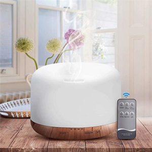Tmendy Diffuseur portatif d'Aromatherapy d'humidificateur ultrasonique d'humidificateur de diffuseurs d'huile essentielle de grain 500ml avec 7 couleurs changeantes de LED diffusant le parfum d'arome,
