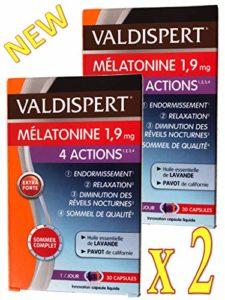 VALDISPERT – Complexe Favorisant l'ENDORMISSEMENT – Mélatonine 1.9 mg – 4 ACTIONS: ENDORMISSEMENT # RELAXATION # DIMINUTION des REVEILS NOCTURNES # SOMMEIL DE QUALITE – 2 Mois de TRAITEMENT – 2 x 30