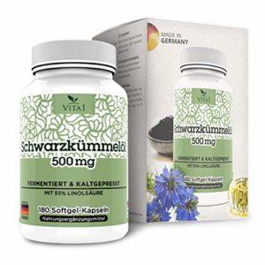 VITA1 Huile de nigelle 500 mg • 180 capsules (alimentation 1mois) • Sans gluten, kosher et halal • Fabriqué en Allemagne