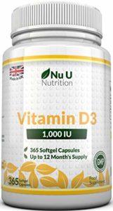 Vitamine D3 1000 UI, 365 Softgels (une année entière de réserve), Cholécalciférol haute Absorption par Nu U Nutrition