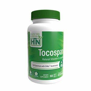 Vitamine E Tocospan (avec tocotriénols EVNOL™) 400 UI – complexe tocotriénols et tocophérols à spectre complet (8 formes naturelles de vitamine E) – 60 gélules (60)