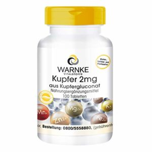 WARNKE Gesundheitsprodukte GmbH Santé produits cuivre 2mg en cuivre Gluconate, purement Substance, végétarien, 1er Pack (1x 0.03kg)