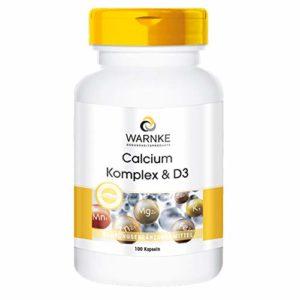 Warnke Vitalstoffe complexe de calcium et de vitamine D, avec du calcium, et du magnesium et vitamine D3, 100 gélules, végétarien, 1 boite (1 x 117 g)