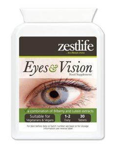 Zestlife Eyes & Vision Supplément 30 comprimés | Une combinaison d'extraits de myrtille et Eyebright | Anthocyaninus | lutéine | zéaxanthine | zinc et vitamines