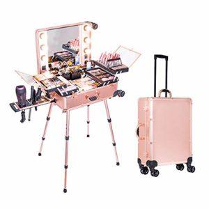 ZYT Cosmétique Cas Boîte LED Miroir Éclairé Maquillage Voyage Valise Artiste Portable Coiffeuse avec Les Jambes Roulant Bagage