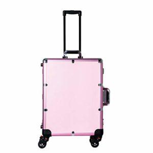 ZYT Valise à Maquillage Professionnel, Grand Trolley de Maquillage pour Coiffeurs, Mallette de Maquillage vec éclairage intégré au Miroir et 3 Couleurs Lumineuses,Beauty Studio,Pink