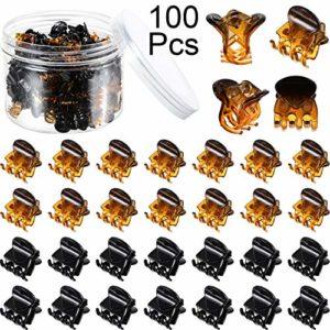 100 Pièces Mini Pinces à Griffes de Cheveux Pinces à Cheveux en Plastique Clip de Griffe avec une Boîte Petits Clips de Mâchoire pour Fille et Femme (Noir et Marron)