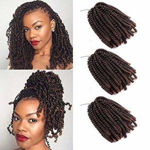 3 paquets de cheveux Afro Spring Twist Crochet, extension de tresse synthétique Mambo Twist Havana synthétique (T1B/30#,8 pouces)