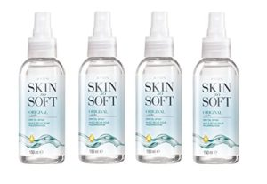 4 x 150ml Skin So Soft bouteilles spray d'Avon huile seche jojoba & citronelle – L'alternative à un insectifuge
