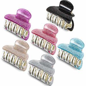6 Pièces Petites Pinces à Cheveux en Plastique Pince à Cheveux en Acrylique Pince à Griffe de Cheveux Colorée Pinces à Cheveux pour Filles et Femmes