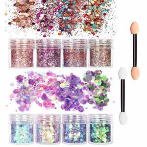8 Mélanges Paillettes de Maquillage Chunky Glitter 20 Éponge ombre à Paupières, Lot de Poudre Pailletée, Scintillante et Brillante pour les Ongles et le Maquillage