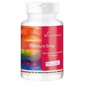Acide folique 5mg – 120 comprimés, végan, hautement dosé, seulement un ¼ de comprimé par jour