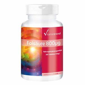 Acide folique 800µg, vitamine B9, haute dose, vegan, substance pure, sans anti-agglomérant, sans iode, 360 comprimés, Flacon avantageux pour un an