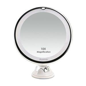 Auxmir Miroirs Grossissants x10 – Miroir de Maquillage Voyage avec Lumière LED et Verrouillage Ventouse, Ajustable à 360° Miroir Cosmétique Portable pour Salle de Bain (Diamètre 16,5 cm)