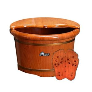 Bao Xing Bei Firm Sels de Bain Seau de Bain de Pied Seau de Bain de Pied en Bois Couvercle Acupressure Massage tonneau en Bois (Color : Wood Color, Size : 31.5 * 26 * 41.5cm)