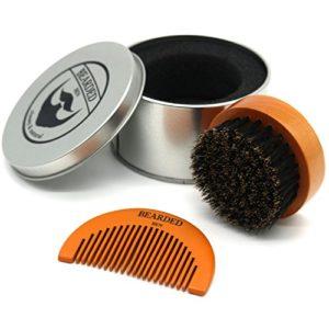 BEARDED BEN brosse à barbe avec des poils de sanglier et une boite de rangement de haute qualité pour un soin de la barbe professionnel (brune, diamètre : 6.3 cm) | 2 ans de garantie de satisfaction