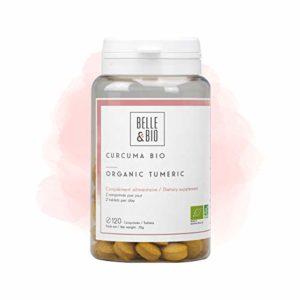 Belle&Bio – Curcuma Bio & Pipérine (Poivre Noir) – 120 comprimés – 600 mg/jour – Articulation – Certifié Bio par Ecocert – Fabriqué en France