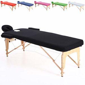 Beltom Ensemble de Couverture en Coton pour Table de Massage 195 x 70 cm. – Noir