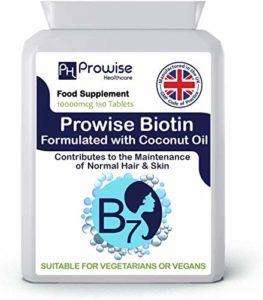 Biotine formulée avec de l'huile de noix de coco 10 000µg 180comprimés Comprimés de haute résistance à la biotine -Fabrication britannique avec une qualité garantie GMP-Convient aux végétariens et aux