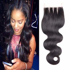 BLISSHAIR Top Lace Closure Middle Part 3.5″ x 4″ Bresilien Vierges Extensions de Cheveux Humains Noir Naturels Body Wave 10″