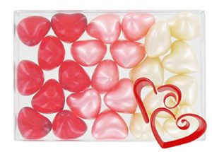 Boîte de 24 perles d'huile de bain fantaisies – Coeurs 3 parfums